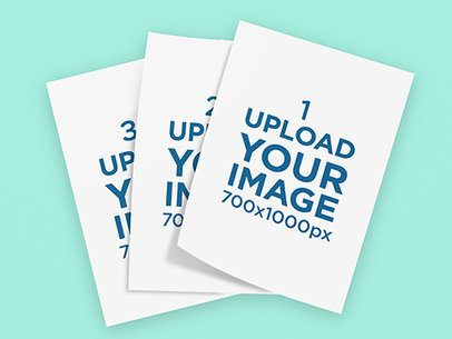 Mockup of Three Overlapped Flyers in a Minimalistic Setting 1248-el