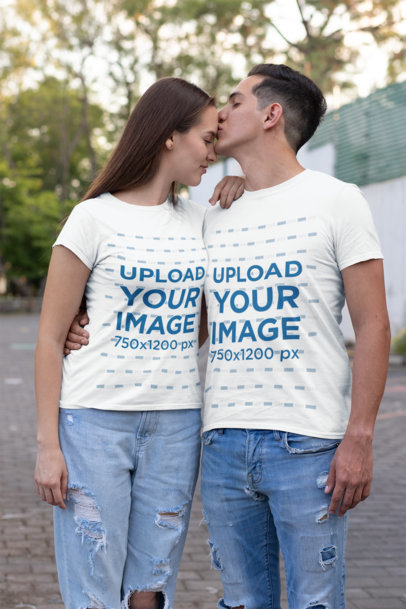 T-Shirt Mockup of a Man Kissing His Girlfriend on the Street 30747