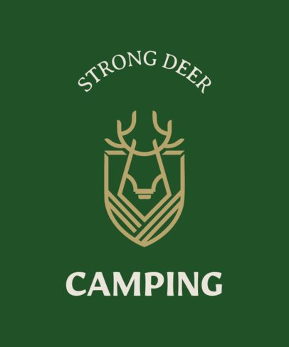 Camping T-Shirt Maker with a Minimalistic Deer Icon 25d-278-el