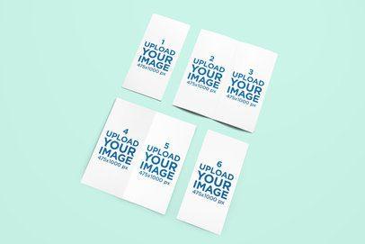 Mockup of a Set of Bifold Brochures on a Plain Background 1129-el