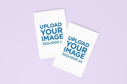 Mockup of Two Greeting Cards Against a Plain Background 1131-el
