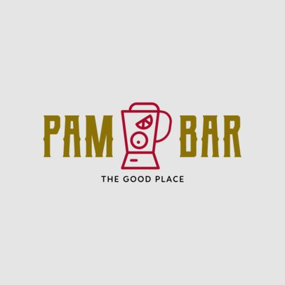 Cocktail Bar Logo Design Maker with a Blender Clipart 1812g-256-el