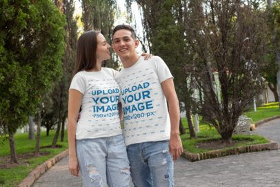 T-Shirt Mockup of a Woman Adorably Looking at Her Boyfriend 30742
