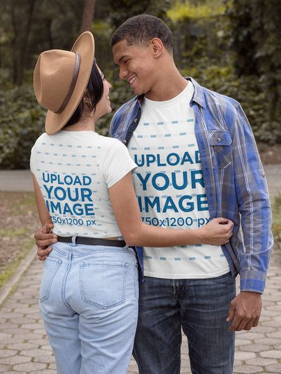 T-Shirt Mockup of a Couple Being Romantic at the Park 30530