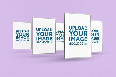 Mockup of Five Posters Floating in a Minimalistic Scenario 1263-el