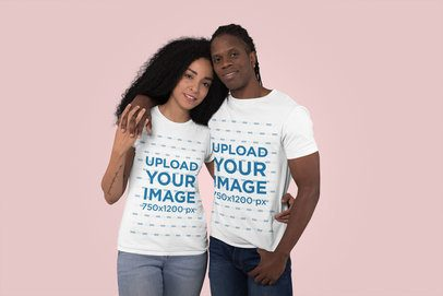 Mockup of a Couple with T-Shirts Hugging at a Studio 30762