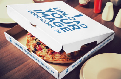 Mockup of a Customizable Pizza Box 1081-el