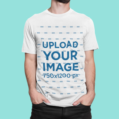 Front-View Mockup of a Man Wearing a Crew Neck Tee in a Studio 1420-el