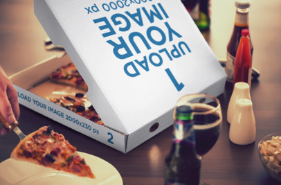 Mockup of a Pizza Box on a Table Surrounded by Glasses and Sauces 1082-el