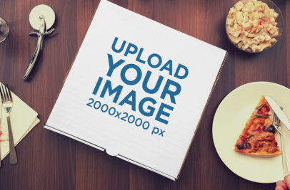 Mockup of a Pizza Box Surrounded By Food 1083-el