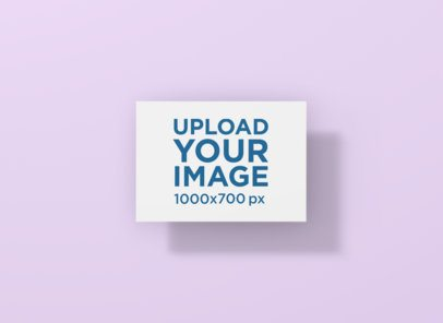 Mockup of a Horizontal Postcard Floating in a Plain-Color Background 1231-el