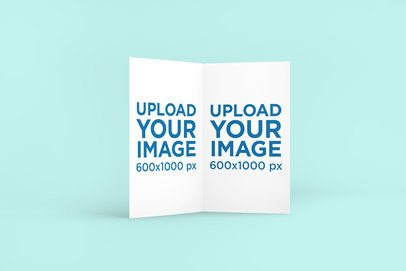 Mockup of an Opened Greeting Card Against a Customizable Backdrop 1138-el