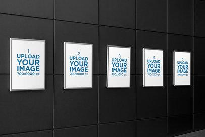 Mockup of Five Posters on a Modern Wall 1353-el