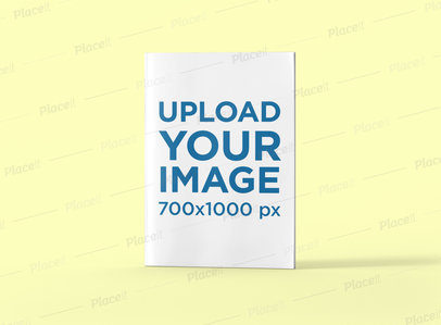 Minimal Mockup of an A4 Magazine Standing Against a Plain Color Background 1259-el