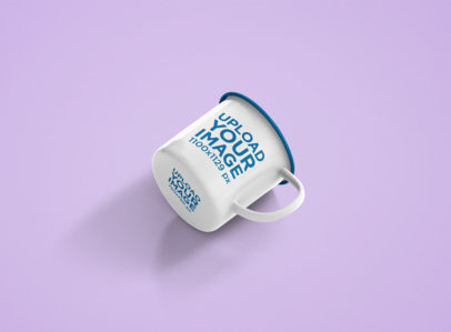 Mockup of an Enamel Coffee Mug with a Customizable Rim on a Flat Surface 1200-el