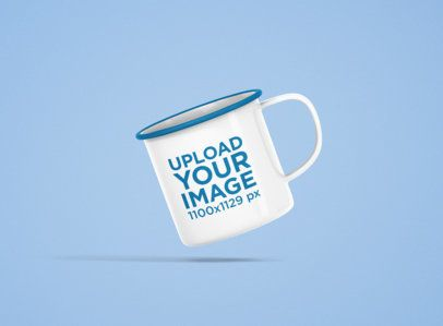 12 oz Color Rim Enamel Mug Mockup Featuring a Solid Color Backdrop 1202-el