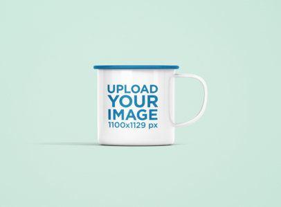 Mockup of a 12 oz Color Rim Enamel Mug  Against a Plain Background 1203-el