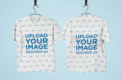 Both Sides Mockup of a Hanging Sublimated T-Shirt 1382-el