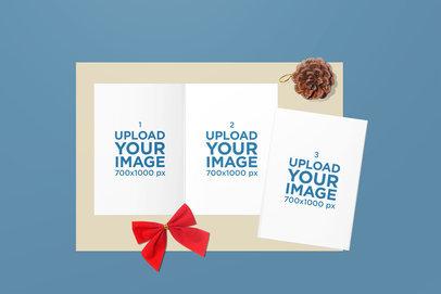 Greeting Cards Mockup Featuring a Christmas Setup 1607-el