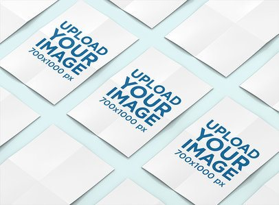 Mockup of Three Folded Posters in a Row 1237-el