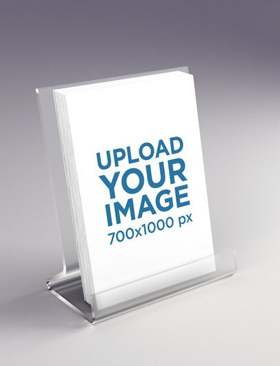 Mockup of Several Flyers Placed on an Acrylic Structure 1413-el