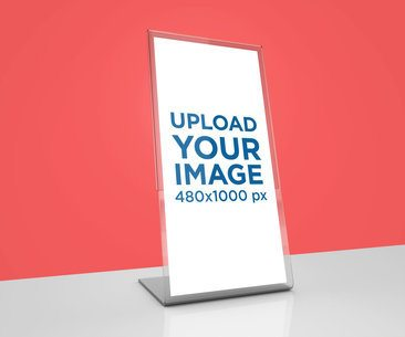 Mockup of a Table Tent Placed Against a Flat Surface 1360-el