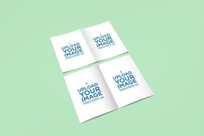 Mockup of Two Open Greeting Cards Lying on a Solid Surface 1609-el