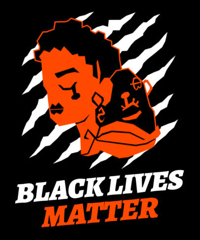 T-Shirt Design Maker for a BLM Movement with a Crying Face Graphic 2040b