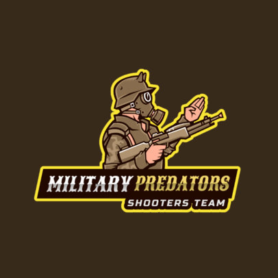 Gaming Logo Maker Featuring a Gas-Masked Armed Soldier 2754a