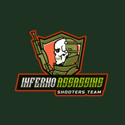 Logo Maker Featuring a Skull-Masked Shooter for a Gaming Team 2754d