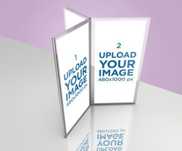 Mockup of a Six-Sided Table Tent Mockup on a Reflective Surface 1362-el