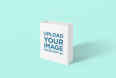 Mockup of a Shopping Bag in a Plain-Color Scenario 1476-el