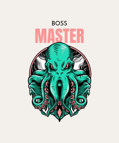 T-Shirt Design Generator Featuring an Aggressive-Looking Octopus 33m-el