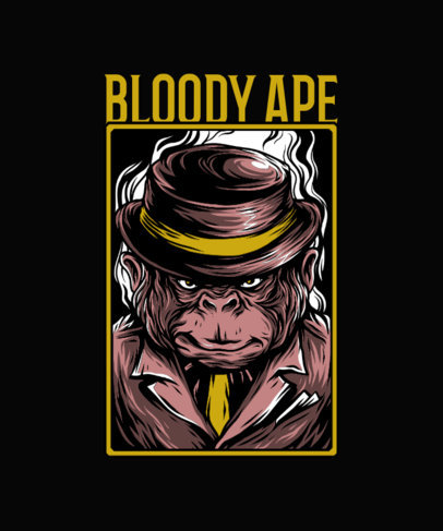 T-Shirt Design Template Featuring a Serious-Looking Ape with a Mafia Hat 33n-el