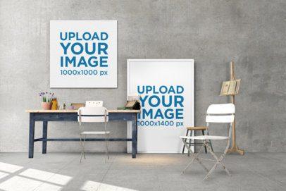 Mockup Featuring Two Art Prints at a Minimalistic Art Studio 390-el