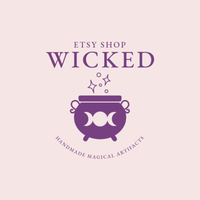Logo Design Maker for an Etsy Shop with a Cauldron Clipart 2724i