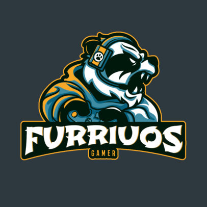 Gaming Logo Template Featuring a Furious Panda Gamer 2755e