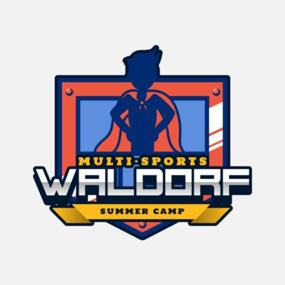 Summer Camp Logo Generator with a Super Hero Kid Icon 2753g
