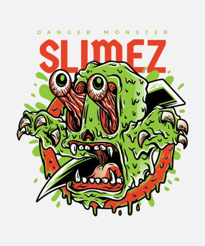 T-Shirt Design Generator Featuring a Crazy-Looking Slime Monster 22a-el