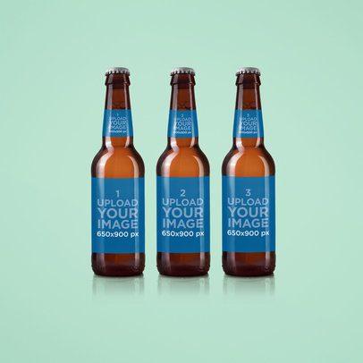 Label Mockup Featuring Three Beer Bottles 1415-el