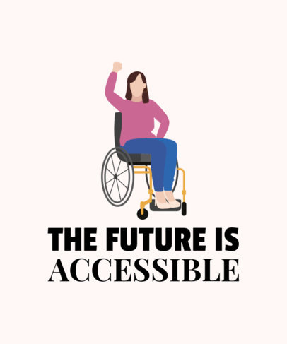 T-Shirt Design Creator with a Woman Using a Wheelchair Illustration 2022c