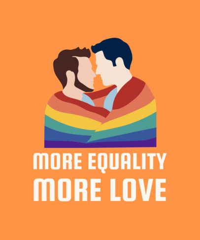 T-Shirt Design Template with an LGBT Couple Kissing Illustration 2022b