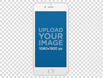 Frontal Mockup of a White iPhone 6 Plus Over a Transparent Background a11471