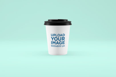 Mockup of a Coffee Cup Standing Against a Customizable Background 1501-el