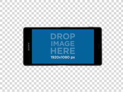Sony Xperia Z5 in Landscape Position Over a Plain Background Mockup a11469