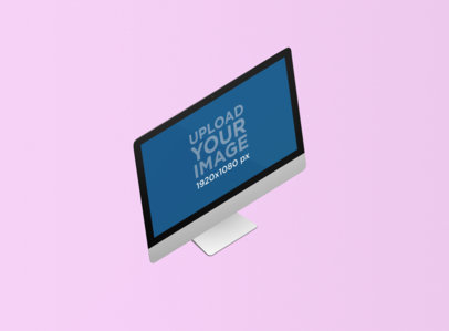 Minimal Render Mockup of an iMac Standing on a Plain Color Surface 1278-el