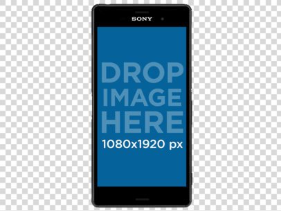 Mockup of a Sony Xperia Z5 in Vertical Position Over a Transparent Background a11473