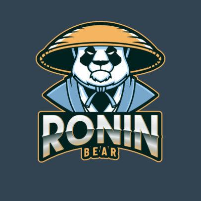 Gaming Logo Template Featuring a Kung Fu-Style Panda Cartoon 2755o