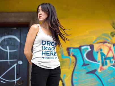 Tank Top Mockup Featuring a Pretty Asian Girl Near Urban Art a9540a