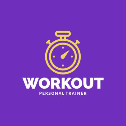 Personal Trainer Logo Template Featuring a Stopwatch Clipart 2459j 288-el